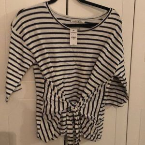 Express striped tie front top